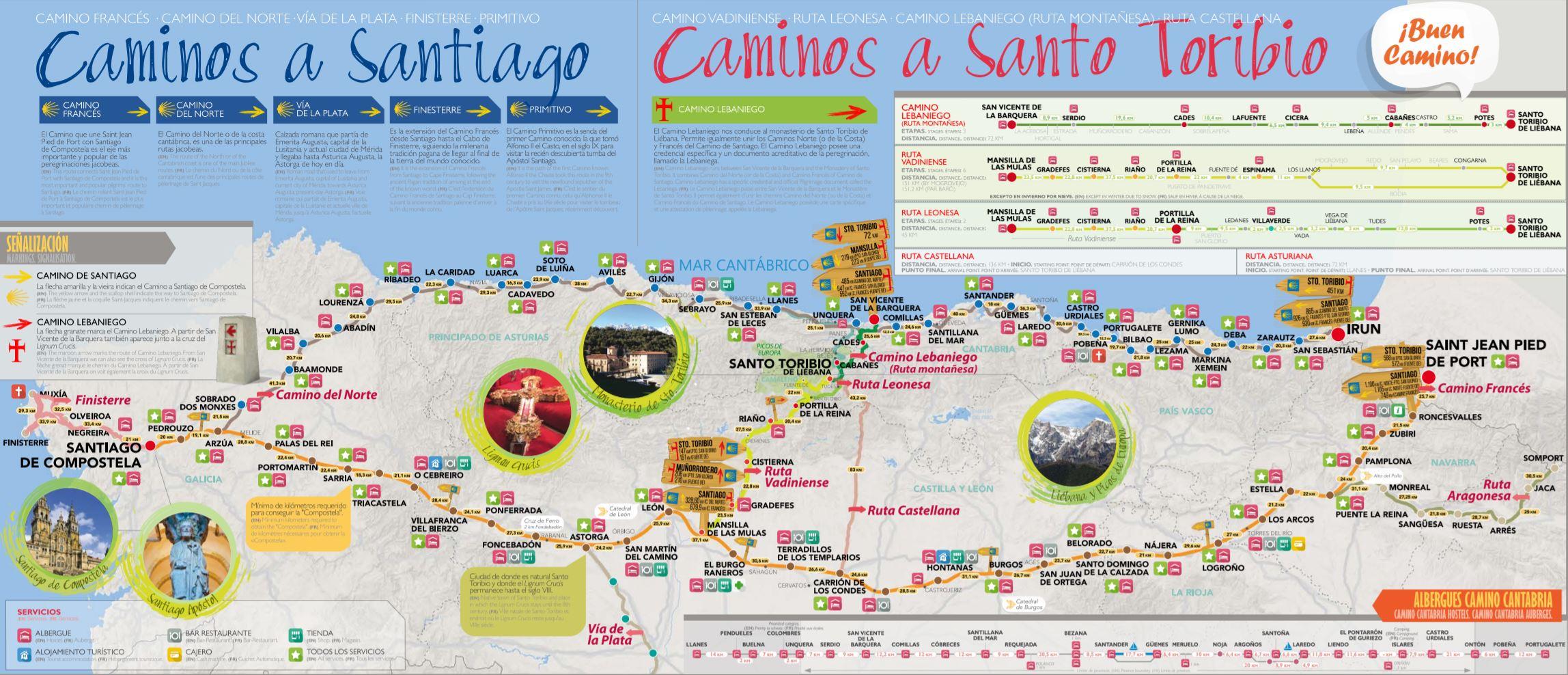 CAMMINO LEBANIEGO mappa cammino di santiago