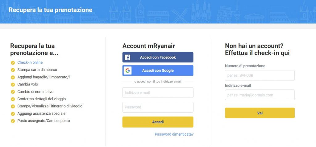 check-in online ryanair recyourtrip