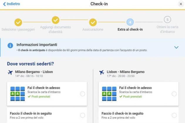 ryanair check in online posti prenotati
