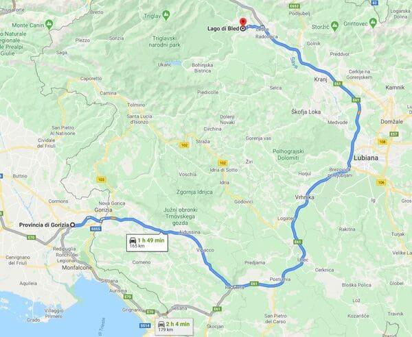 Mappa arrivare al lago di Bled da Gorizia