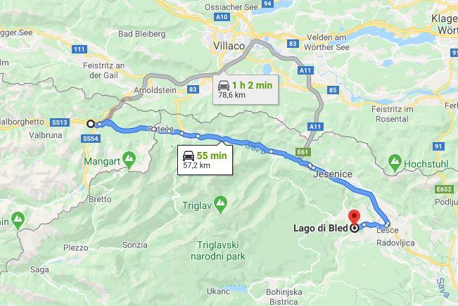 Mappa arrivare al lago di Bled da Tarvisio