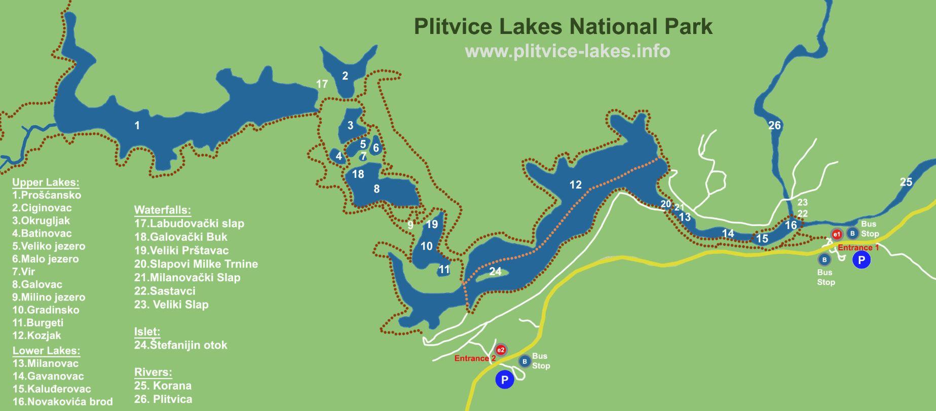laghi di plitvice mappa