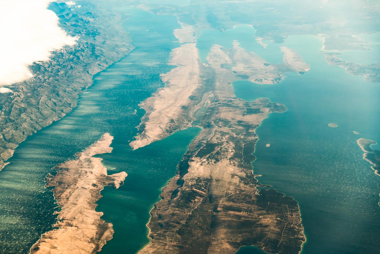 vista dall'alto isola di pag croazia